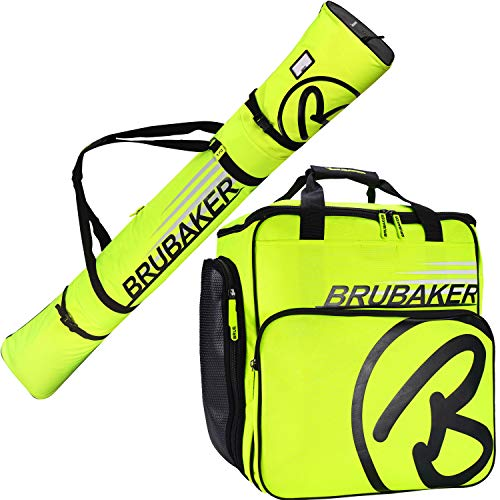 Brubaker Kombi Set Carver Champion - Skitasche und Skischuhtasche für 1 Paar Ski + Stöcke + Schuhe + Helm - Neon Gelb/Schwarz - 170 cm