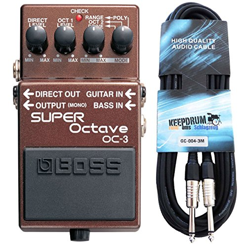 Boss OC-3 Super Octave Effektgerät + keepdrum Gitarrenkabel 3m