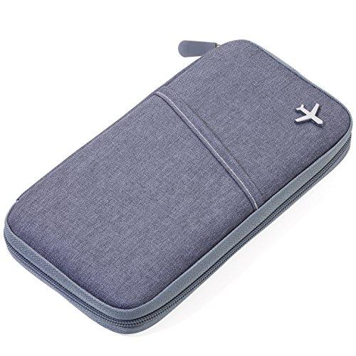 TROIKA SAFE FLIGHT - TRV20/GY - Etui für Reisedokumente - mit Ausleseschutzfolie (für RFID-Chips) - Reißverschluss - 12 Innenfächer - Stiftschlaufe - Polyester - grau/orange - TROIKA-Original
