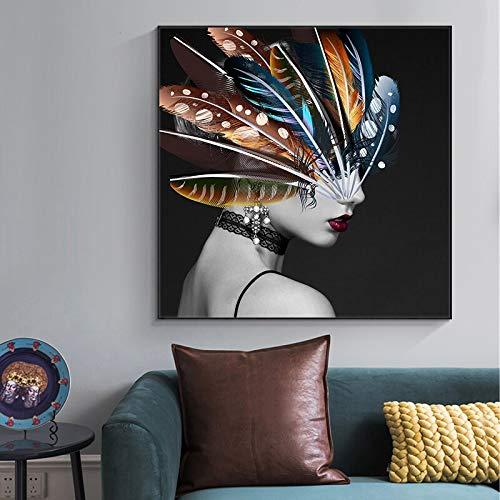 wZUN Carteles e Impresiones de Chicas con Pinturas de Lienzo de Retrato de Plumas en la Pared Imágenes de Arte de Pared únicas para la decoración de la Sala de Estar 60x60 Sin Marco