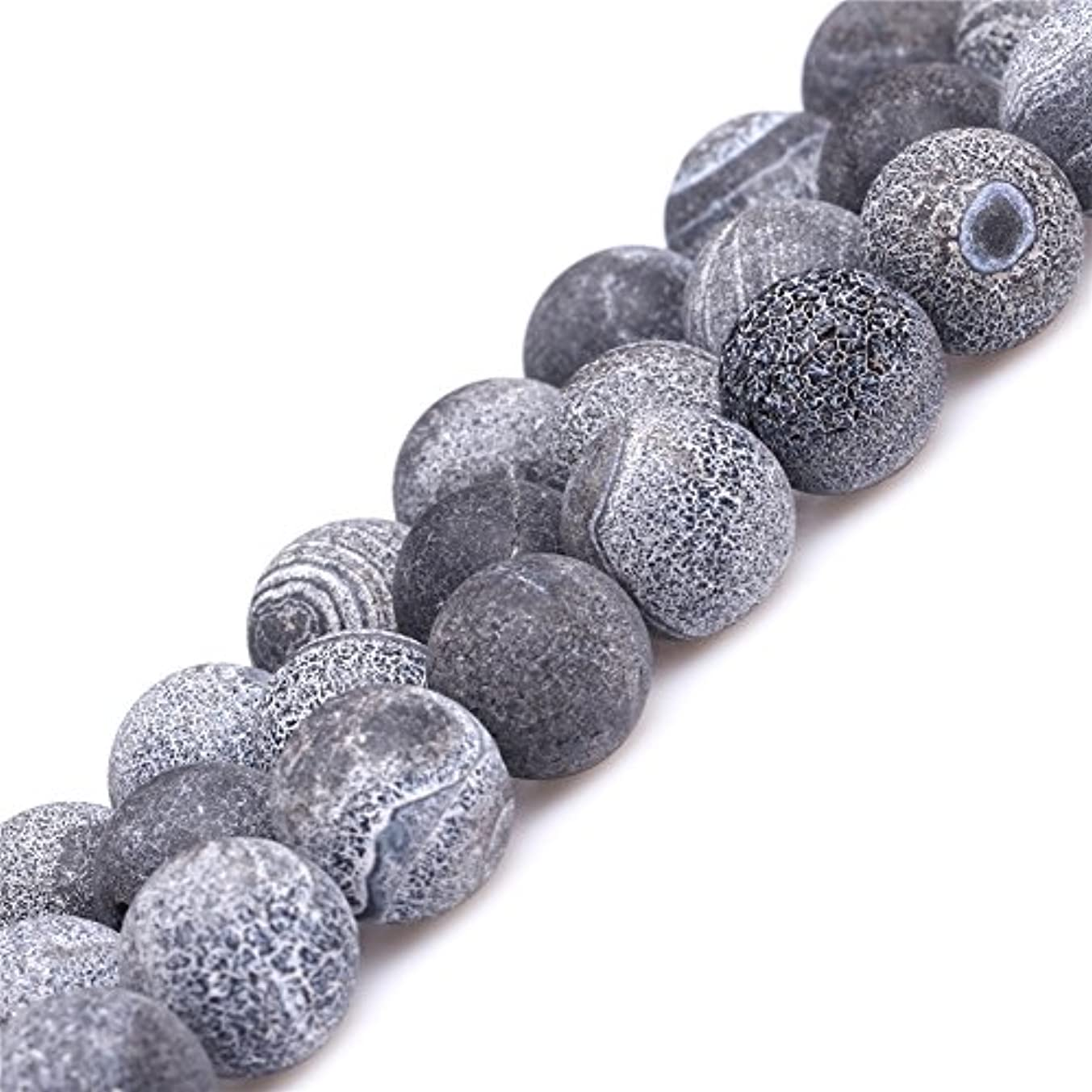 Black Agate Beads for Jewelry Making Natural Gemstone Semi Precious 12mm Round Frosted Matte 15