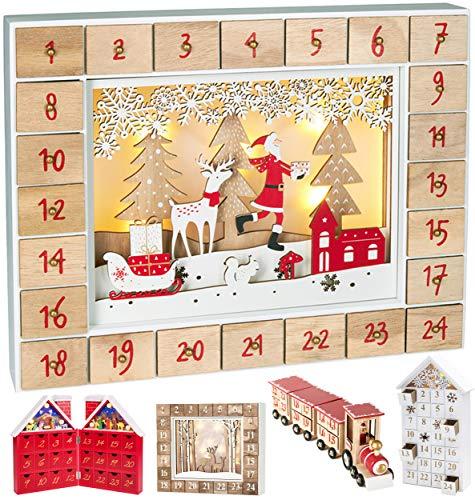 BRUBAKER - Calendrier de l'Avent Lumineux - 24 Tiroirs à remplir - Père Noël dans la forêt - Décoration de Noël en Bois - Éclairage LED - 35,5 x 6 x 27 cm