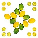 liangzai 2 4 Piezas Limones Falsos Vivos Limones y rodajas, Decoraciones de Frutas Artificiales encajadas para Casas de Cocina Mabante de Mesa Bodas Hilarity (Color : Yellow Green)