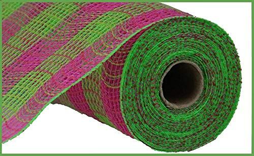 Small Check/Faux Jute Deco Mesh, 10.5 Inch x 10 Yards (Hot Pink, Fresh Green)