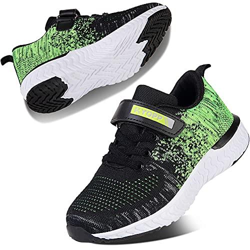 Kyopp Ragazzi Scarpe da Corsa Traspiranti Unisex Ragazze Leggero Sneakers Antiscivolo Scarpe daRagazzo in Velcro Antiscivolo Fitness Casual