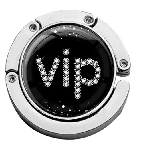 metALUm Taschenaufhänger Handtaschenhalter VIP IN Silber mit faltbarem Magnetverschluss #2601131