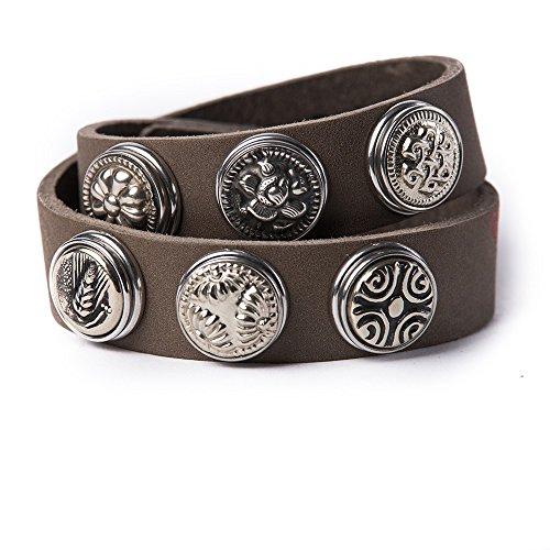 Noosa Armband Wrap Bracelet Double Skinny grey, Grösse:S
