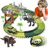 ACTRINIC Pista de Carreras Juguetes de Dinosaurios Mundo Jurásico 142 Pistas Flexibles Que Incluyen...