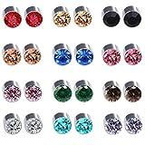 Spiritlele 12 Pairs Colors Crystal Magnetic Earrings Fake Non Piercing Earrings Set (12 colors)