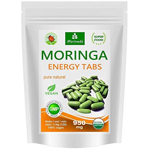 MoriVeda® - 120 Moringa Energy Tabletten 950mg oder Moringa Kapseln 600mg – Oleifera, vegan, Qualitätsprodukt (1x120 Presslinge)