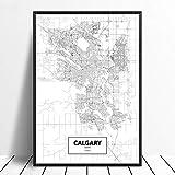 Leinwanddruck,Calgary Schwarz Weiß Benutzerdefinierte Welt