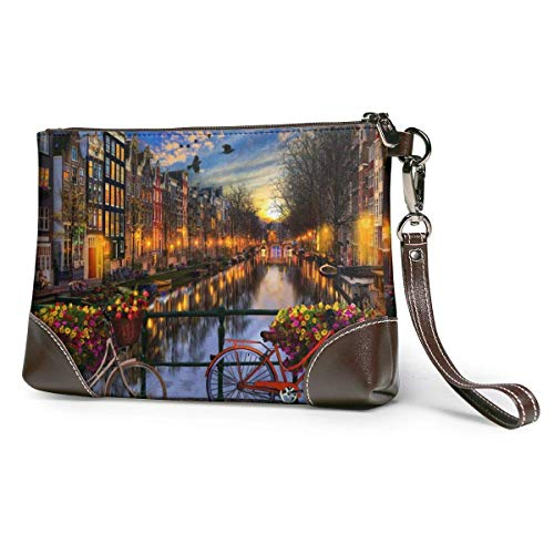 Carteras Women's Leather Wristlet Clutch Wallet Amsterdam Aglow Purse Phone Handbags Card For Travel Party Wedding Shopping