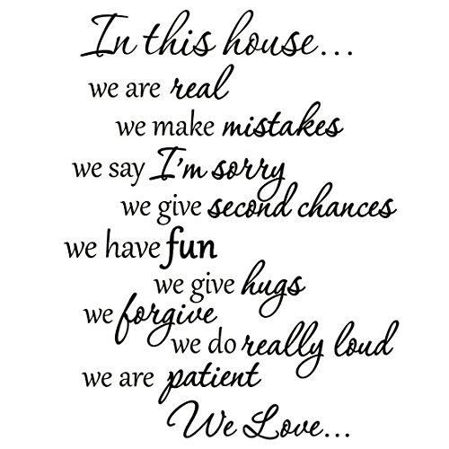 VWAQ VWAQ-1924 in This House Decals Family Rules Quotes Sayings Vinyl Wall Art Stickers