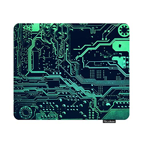 Nicokee Gaming Mouse Pad Circuit Board Electronic Computer Hardware Technology Motherboard Digital Chip Tech Science Integrated Non-Slip Rubber Mouse Pad for Computers, Laptop 9.5 Inch x 7.9 Inch