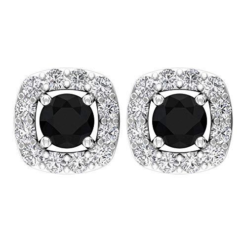 Pendientes de ónix negro de 0,13 quilates, pendientes de halo de diamante de 0,10 quilates, antiguo solitario pendientes, pendientes de aniversario, pendientes negros, tornillo hacia atrás