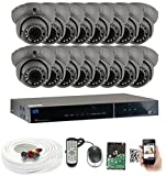 GW Security Inc 24CHV3 32 Channel H.264 960H Real-Time DVR with 24 x HDIS CCD Outdoor or Indoor Use 700 TVL 3.6mm Lens Security Camera System, Free LED (Black)