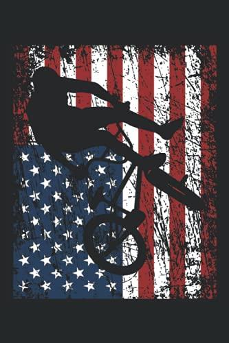 BMX Bike Fahrer BMX Rad USA Amerika Flagge Geschenk Notizbuch (Taschenbuch DIN A 5 Format Liniert): BMX Rad Geschenk Notizheft, Schreibheft, Tagebuch. ... Fahrrad Design für Damen, Herren und Kinder.