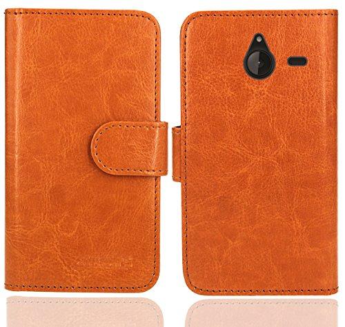 FoneExpert® Microsoft Lumia 640 XL Handy Tasche, Wallet Hülle Flip Cover Hüllen Etui Ledertasche Lederhülle Premium Schutzhülle für Microsoft Lumia 640 XL (Wallet Orange)