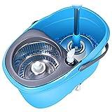 HF- Mop - Mop Bucket Rotary Automático Acero Inoxidable Mop Good God Drag Free Hand Wash Mop Tow Tow Mopa doméstica - Azul -Fregasuelos (Color : Azul, Design : Plastic-2 mop Heads)