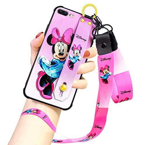 DISNEY COLLECTION iPhone 7 Plus/8 Plus Case, Pink Minnie Mouse Street Fashion Wrist Strap Band Phone Cover Bumper Lanyard Case for for iPhone 7 Plus/iPhone 8 Plus 5.5 Inch