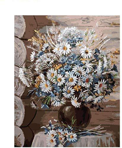 Schilderen op nummer doe-het-zelf kits witte korenbloemen in zwarte vaas 40 x 50 cm canvas schilderen voor volwassenen en kinderen