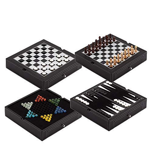 Premium Leather 4-in-1 Chess, Checkers, Backgammon & Chinese Checkers Board Game Combo Set. Classic Board Strategy Game for Kids & Adults