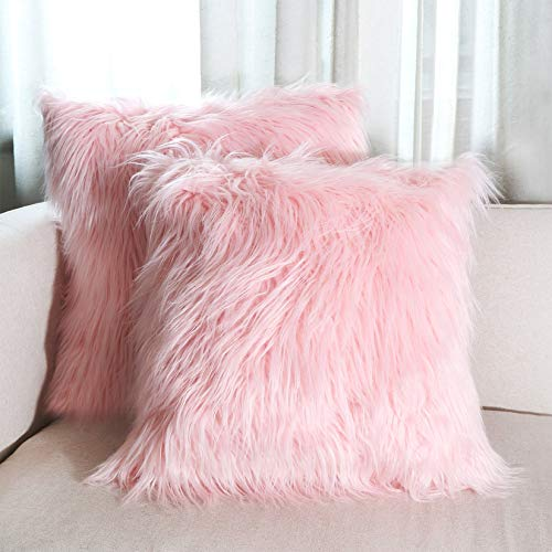Hodeco Decorative Faux Fur Throw Pillow Covers 18x18 Inches Luxury Mongolian Fluffy Soft Cushion Cover Plush Floor Pillow Case for Living Room Sofa Bedroom Square Pillow Cover 45x45CM, Pink 2 Pack