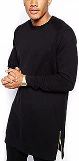 YANWENFANG Men Hipster Longline Hip-hop Long Sleeve Basic Long T-Shirt US Size