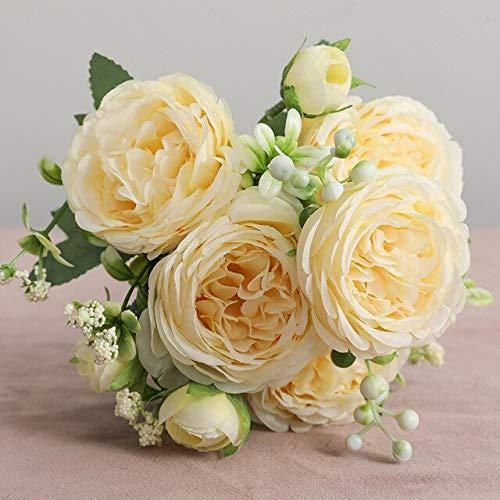 Hermosa Rosa peonía Flores de Seda Artificial Ramo pequeñoFiesta en casa Primavera decoración de la BodaFlor Falsa - 14