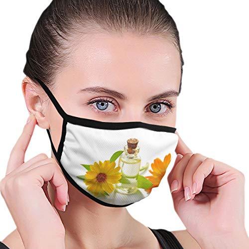 Dataqe twee gele zonnebloemen met helder glas fles met kurk deksel gezicht maskers doek masker voor stofbescherming katoen wasbaar herbruikbaar voor mannen en vrouwen universeel