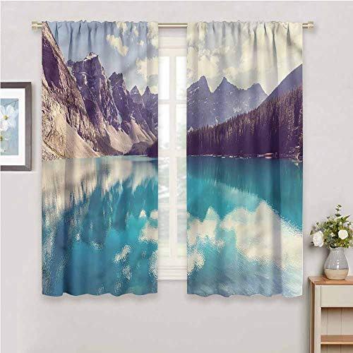DIMICA Room Darkened Curtain Landscape Lake Canada National Park Soundproof Privacy Window Curtains W52 x L63 Inch