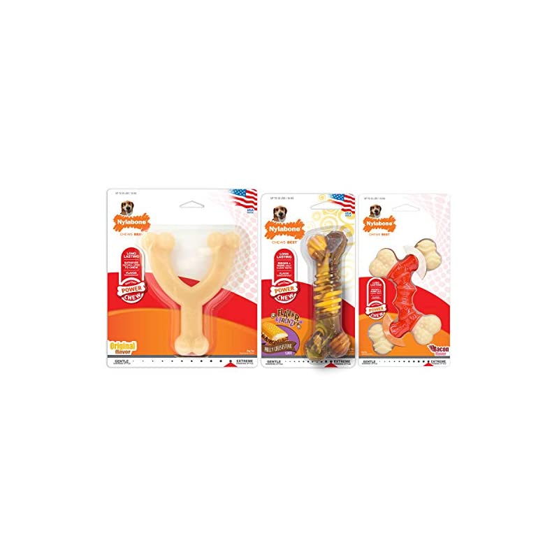 dog supplies online nylabone power chew dog chew toys bundle 3-count bundle- bacon, philly cheesesteak, and original flavors medium - up to 35 lbs.