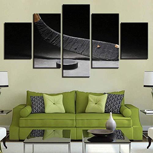 Hnyyj Hockey sobre Hielo Stick 5 Pinturas Decoración para el hogar Modular Wall Art Poster 5 Piezas Living Room Modern Pictures Work