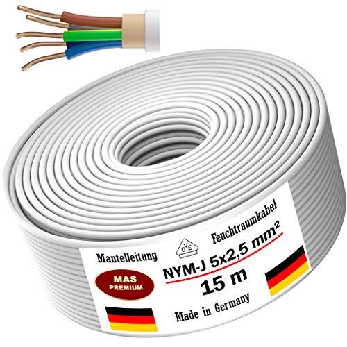 Feuchtraumkabel Stromkabel 5, 10, 15, 20, 25, 30, 35, 40, 50, 75, 80, oder 100m Mantelleitung NYM-J 5x2,5 mm² Elektrokabel Ring für feste Verlegung (15m)