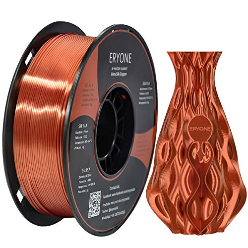 Eryone Ultra Silk Copper PLA 3D Printer Filament 1.75mm, Dimensional Accuracy +/- 0.05 mm, 1kg (2.2LBS) / Spool