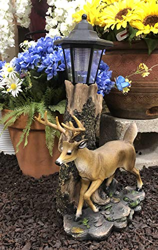 Ebros Rustic Forest Light Outpost Emperor 12 Point Buck Deer Statue with Solar Powered Lantern LED Light Patio Home Decor Deers Does Stag Cabin Lodge Sculpture