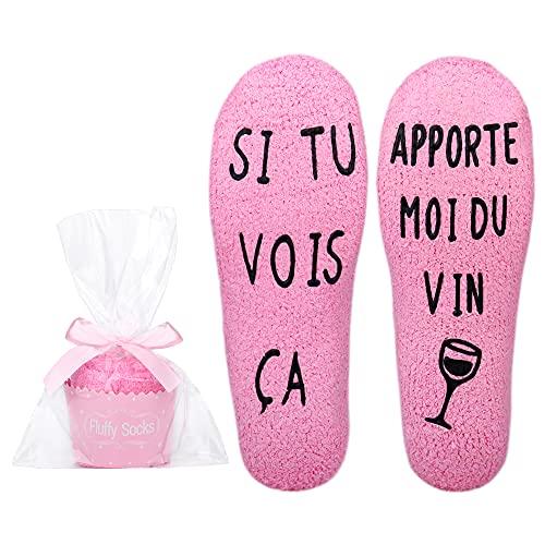 Merclix Chaussette Polaire Femme Chaussette Cupcake Cadeau Rigolo Femme Maman (Rose-Vin) taille unique