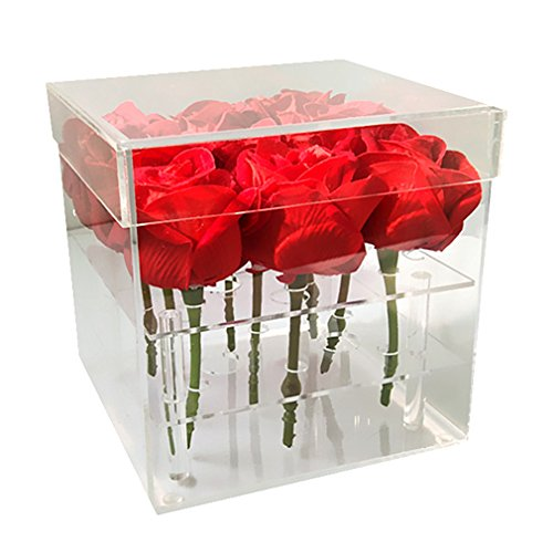 Mordoa Acryl-Blumenkasten, Blumentopf, Hochzeitsblumenhalter, multifunktional, Rosen-Wasserhalter, Eyeliner, Organizer, 25 Löcher, 2 Ebenen, Aufbewahrungsbox (9 Löcher: 161615,5 cm)
