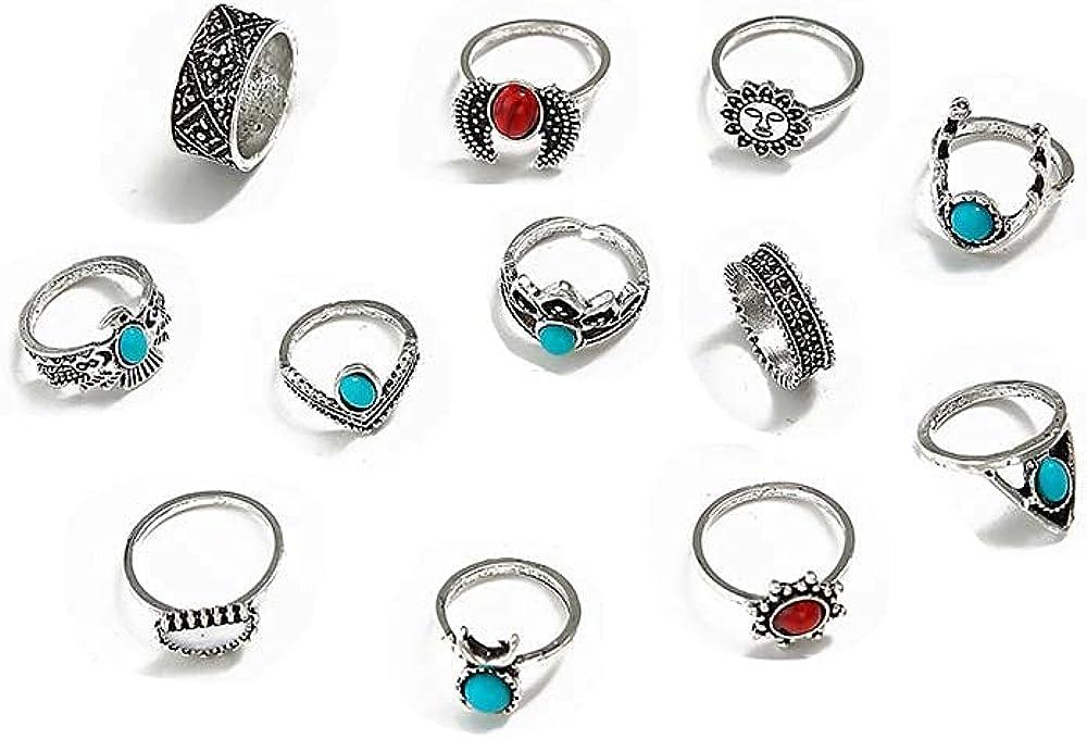 12 Piece Bohemian Moon Turquoise Ring Set Women Stack Ring