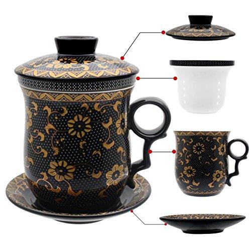 HOLLIHI porcelana taza de té con tapa y platillo infusor