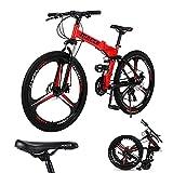 Bicicleta de montaña para adultos, ruedas 3 radios de 26 pulgadas, bicicleta montaña plegable hombre y mujer, bicicleta montaña de freno disco dual 27 velocidades, marco acero ligero fuerte (rojo)