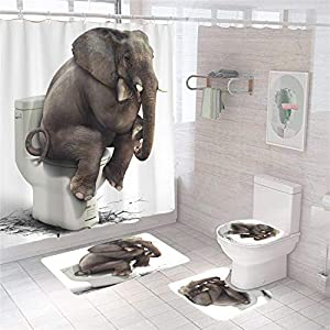 XVWJ 4Pcs Elephant Shower Curtain Set with Non-Slip Rug, Toilet Lid Cover and Bath Mat,Elephant Shower Curtains with 12 Hooks,Shower Curtain with Elephants Sit On The Toilet