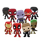 Figura de acción 9pcs / Set 10-14cm Infinity Thor Deadpool Black Panther Spider Man Venom Thanos PVC Hero Q Versión Toys Toys (Color : 9pca OPP Bag)
