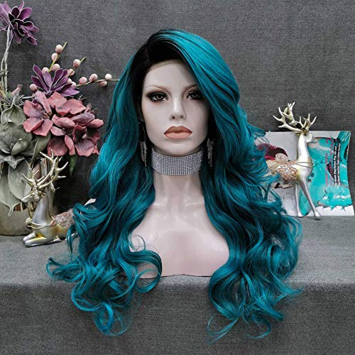 """Imstyle Blue Green Wig for Women Dark Root Lace Front Wig Blue Synthetic Hair Wigs with Realistic Hairline Long Body Wave 24"""" Hair"""