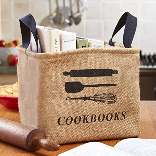 Cookbooks and Reading Materials Storage Bin with Handles for the Kitchen
