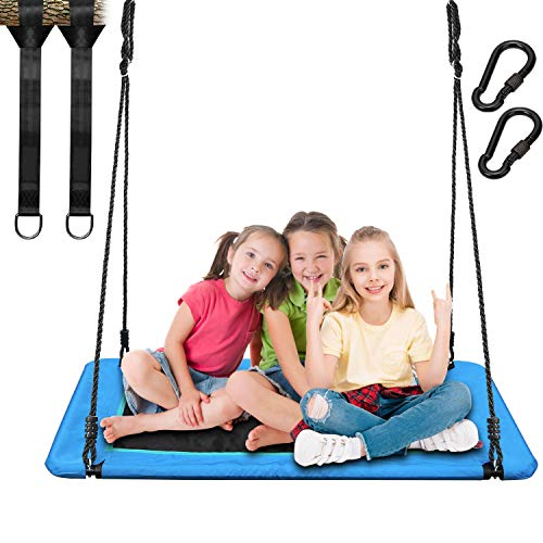 """Trekassy 700lb Giant 45"""" Platform Tree Swing for Kids and Adults Textilene Wear- Resistance with Durable Steel Frame and 2 Hanging Straps"""