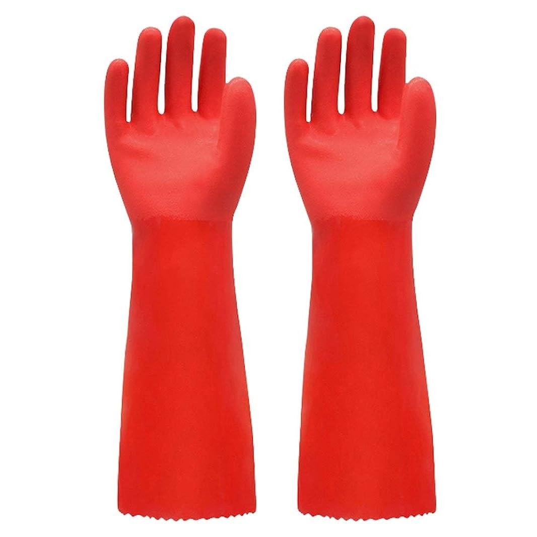 残忍なサーキットに行く叱るBTXXYJP キッチン用手袋 手袋 掃除用 ロング 耐摩耗 食器洗い 作業 炊事 食器洗い 園芸 洗車 防水 手袋 (Color : RED, Size : L)
