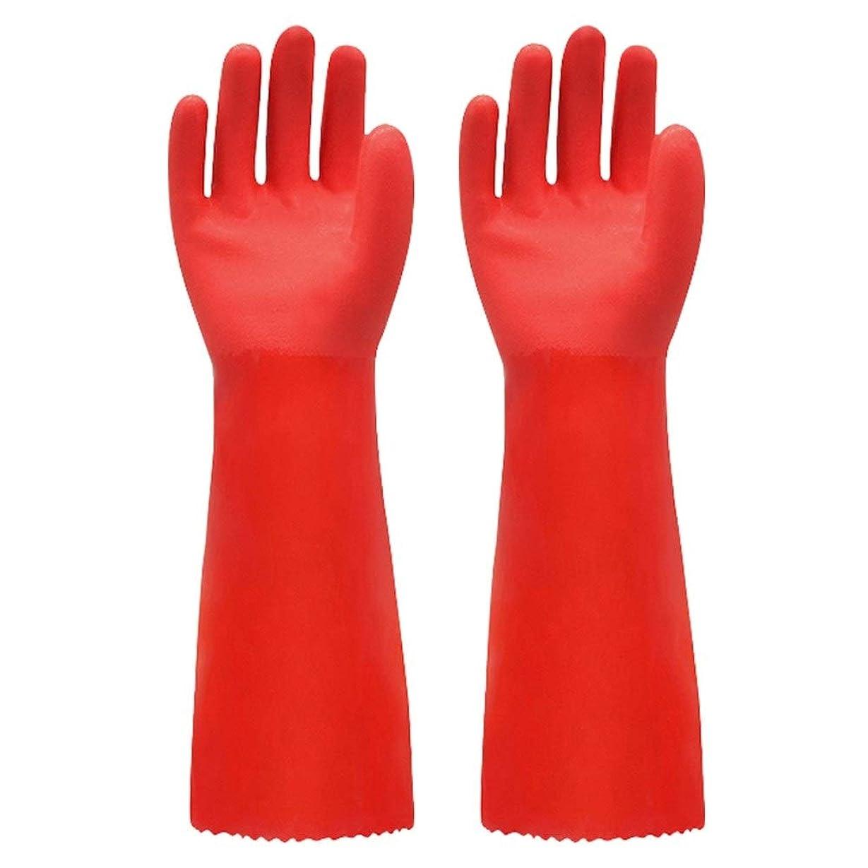 独立して全国火山学ニトリルゴム手袋 ゴム手袋長く暖かいとビロードのゴム製防水と耐久性のある手袋、1ペア 使い捨て手袋 (Color : RED, Size : L)