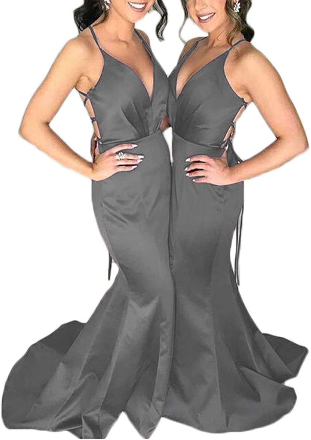 Alilith.Z Sexy Spaghetti Strap Mermaid Prom Evening Dresses 2019 Long Satin Bridesmaid Dresses Party Gowns for Women
