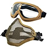 PuddingStation Airsoft Mask and Goggles, Airsoft Face Mask AdjustableSteel Mesh Mask Half Face Protection Face Skull Set, Outdoor Glasses Goggles for Paintball Shooting Cosplay War Game
